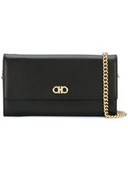 Salvatore Ferragamo Gancio Flap Chain Wallet Black