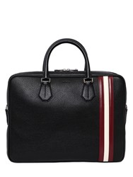 Bally Pebbled Leather Briefcase W Stripes Black Red