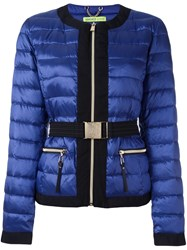 Versace Jeans Belted Cropped Puffer Jacket Blue