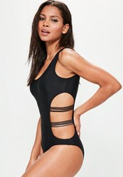 Missguided Black Mesh Cut Out Swimsuit