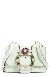 Miu Miu Jewel Buckle Calfskin Leather Shoulder Bag Green Rugiada