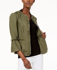 Inc International Concepts I.N.C. Ruffled Linen Frayed Trim Jacket Created For Macy's Olive Drab