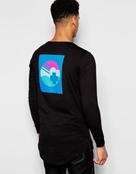 Pink Dolphin Long Sleeve T Shirt With Back Print Black