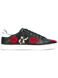 Dolce And Gabbana Embroidered Flower Sneakers Black