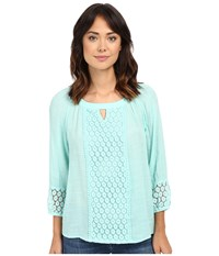 Christin Michaels Caen Lace Top Mint Women's Clothing Green