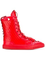 K1x X Patrick Mohr Lace Up Hi Top Sneakers Red