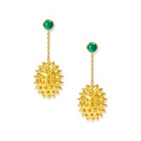 Alexandra Alberta Durian Malachite Earrings Blue Gold