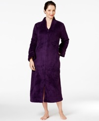 Charter Club Long Dimple Zip Front Robe Purple