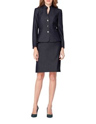 Tahari By Arthur S. Levine Stand Collar Three Button Jacket And Skirt Suit Chambray