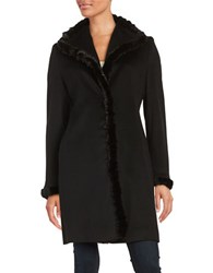 Fleurette Mink Fur Trimmed Walker Coat Black