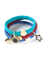 Marc By Marc Jacobs Logo Plaque And Charm Hair Bands Blue