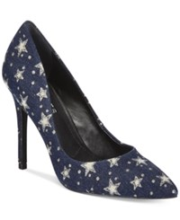Charles By Charles David Pact Leather Pumps Women's Shoes Blue Denim Stars