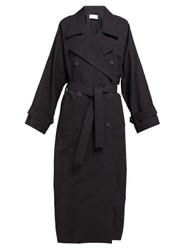 Raey Papery Cotton Blend Trench Coat Black