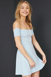 Truly Madly Deeply Off The Shoulder Button Front Mini Dress Blue
