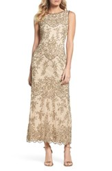 Pisarro Nights Embellished Mesh Gown Champagne