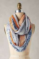 Anthropologie Knotted Paisley Infinity Scarf Blue