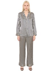Olivia Von Halle Striped Silk Satin Pajama Set