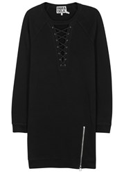 Pam And Gela Black Lace Up Cotton Jumper Dress