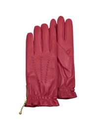 Forzieri Women's Embroidered Red Calf Leather Gloves