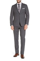 Hickey Freeman Classic B Fit Stripe Wool Suit Grey
