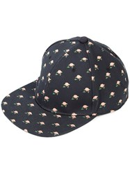 Undercover Floral Print Cap Men Cotton One Size Black