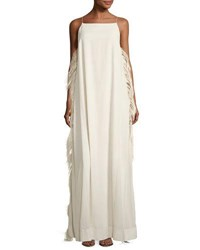 Brunello Cucinelli Strappy Gown W Ostrich Feather Sides Ivory