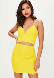 Missguided Yellow Strappy Cut Out Waist Dress