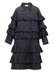 Valentino Ruffled Tier Denim Coat Denim