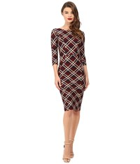 Unique Vintage Sleeved Knit Mod Wiggle Dress Red Plaid Women's Dress