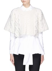 Co Faux Pearl Cropped Wool Cashmere Sweater White