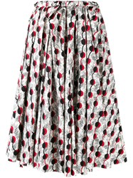 Marni Garland Print Midi Skirt Women Cotton 40 Black