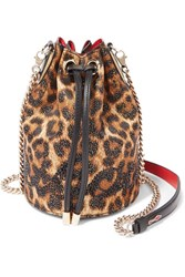 Christian Louboutin Marie Jane Embellished Leopard Print Lurex And Leather Bucket Bag Brown