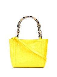 Edie Parker Embossed Croc Effect Tote Yellow