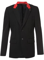 Givenchy Contrast Collar Jacket Men Calf Leather Cupro Wool 48 Black