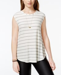 One Clothing Juniors' Striped Waffle Knit Tank Top Cream Grey