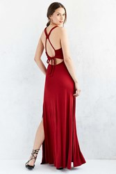 Ecote Braided Strap Knit Maxi Dress Rust