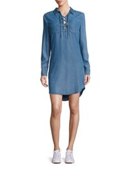 Paige Billie Lace Up Chambray Shirt Dress Angeles