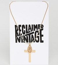 Reclaimed Vintage Inspired Cross And Charm Pendant Necklace Gold