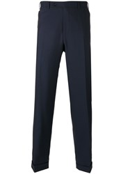 Canali Regular Pleated Trousers Blue