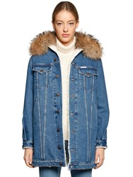 Forte Couture Fur Collar Denim And Faux Shearling Coat
