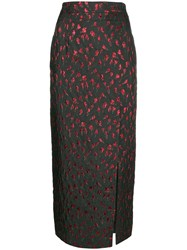 Attico Side Slit Pencil Skirt Black