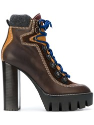 Dsquared2 Hiking Style Ankle Boots Calf Leather Leather Polyamide Rubber Brown