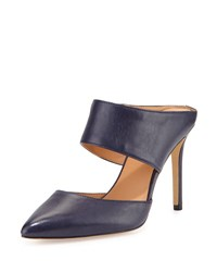 Halston Isabella Leather Pointed Toe Mule Navy