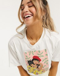 Monki Tovi Girl With Cat Printed T Shirt In Off White Multi