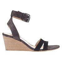 Mint Velvet Gulia Suede Wedge Sandals Grey Black