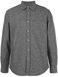 Portuguese Flannel Curved Hem Shirt Grey