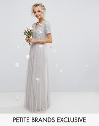 Maya Petite Plunge Neck Embellished Top Maxi Dress With Tulle Skirt Gray