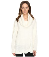 Manila Grace Drape Neck Sweater White Women's Sweater