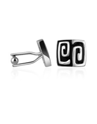 A Z Collection Silver Plated Square Deco Cufflinks Black
