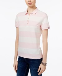 Tommy Hilfiger Striped Polo Top Only At Macy's Ballerina Pink Ivory